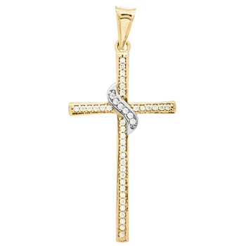 Yellow / White Gold Cross Pendant - 14 K - PTC224 - 1.3g