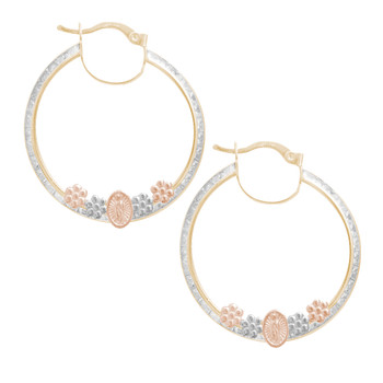 Yellow, white & red Gold Hoop Earrings with CZ - 14 K  - ER4085  Three  Gold hoop earrings.  14K | 3.8 gr
