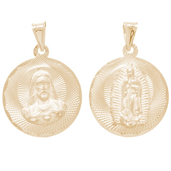 Yellow Gold Medal - 2 Sides - 14 K - RP263  Jesus Christ / Virgin Mary