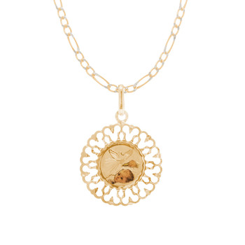 Baptism Medal and Chain Set - CZ - 14 K - JST420