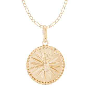 Jesus Medal and Chain Set - CZ - 14 K - JST421