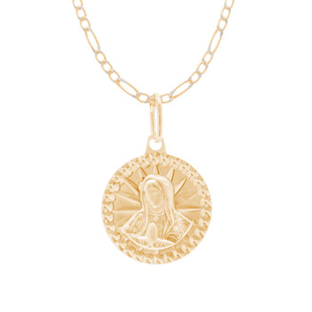 Virgin Mary Medal and Chain Set - CZ - 14 K - JST422
