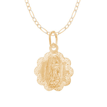 Virgin Mary Medal and Chain Set - CZ - 14 K - JST423