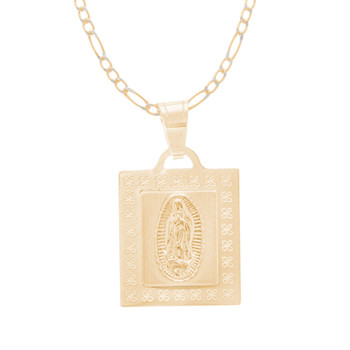 Virgin Mary Medal and Chain Set - CZ - 14 K - JST425