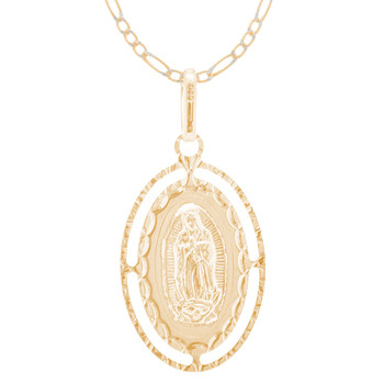 Virgin Mary Medal and Chain Set - CZ - 14 K - JST426