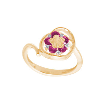 Yellow Gold Ring with CZ - 14 K - RGO334