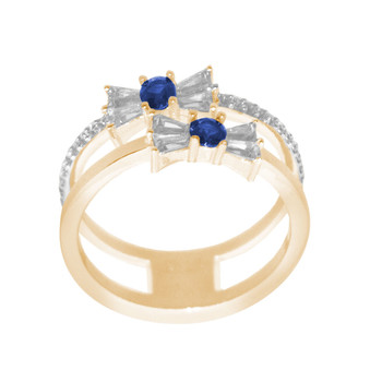 Yellow / White Gold Ring with CZ - 14 K - RGO336