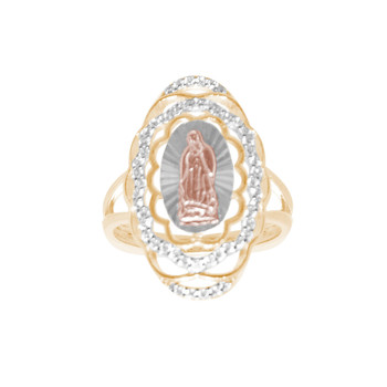 Three Gold Virgin Mary Ring with CZ - 14 K - RGO337