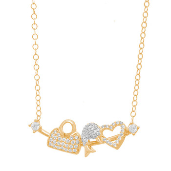 Gold Pendant and Chain Set - CZ - 14 K - JST340