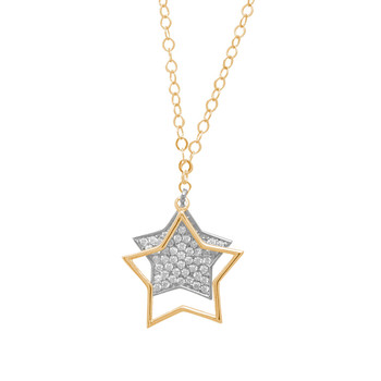 Gold Pendant and Chain Set - CZ - 14 K - JST342