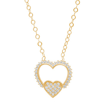 Gold Pendant and Chain Set - CZ - 14 K - JST343