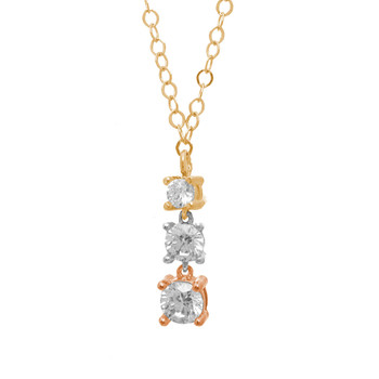 Three Gold Pendant and Chain Set - CZ - 14 K - JST344