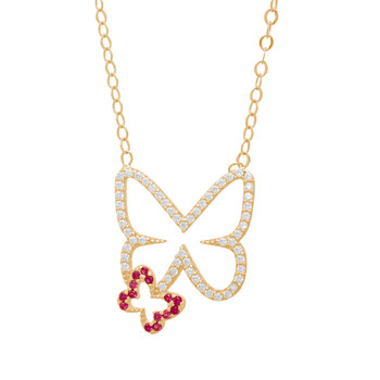 Gold Pendant and Chain Set - CZ - 14 K - JST345