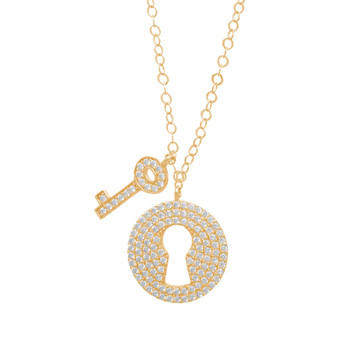 Gold Pendant and Chain Set - CZ - 14 K - JST346