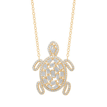 Gold Pendant and Chain Set - CZ - 14 K - JST351