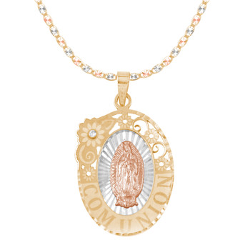 First Communion Gold Pendant and Chain Set - CZ - 14 K - JST374