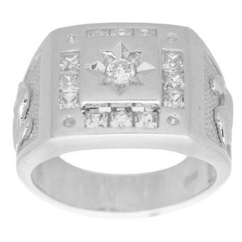 Men's White Gold Ring decorated with CZ - 14 K - RGO341