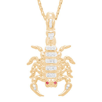 Yellow Gold Scorpion Pendant - CZ - 14 K - GP105
