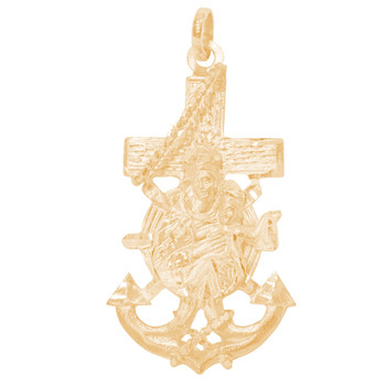 Yellow Gold Cross - Anchor - 14 K - RP293