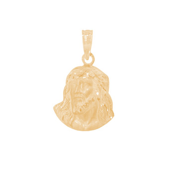 Yellow Gold Jesus Face Medal - 14 K - RP294