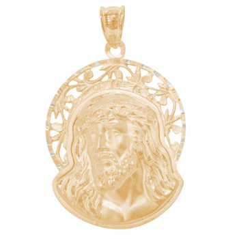 Yellow Gold Jesus Face Medal - 14 K - RP295