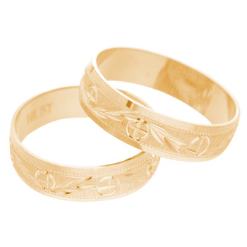 Yellow Gold Wedding Band Set - WBS121