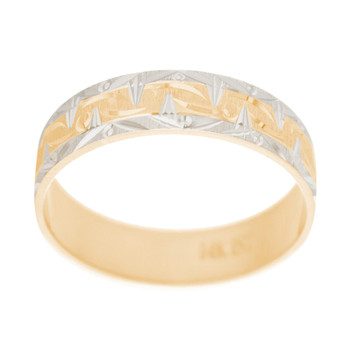 Yellow / White Gold Wedding Band Set - 14K - WBS122 Groom