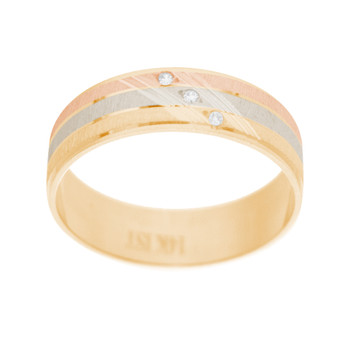 Yellow / White / Red Gold Wedding Band Set with CZ- 14K - WBS123 Bride