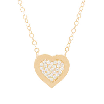 Yellow Gold Heart Pendant and Chain Set - CZ - 14 K - JST382