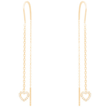 Yellow Gold Heart Earrings with CZ - 14 K  - ER4116
