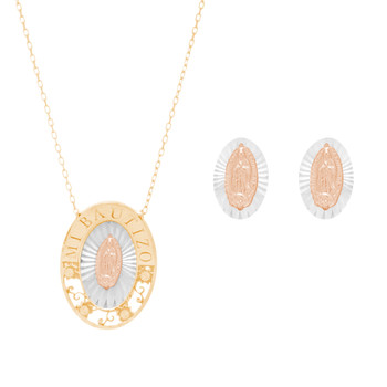 Yellow, White and Red gold Virgin Mary Pendant, Chain and Stud Earrings Set - 14 K - JST403