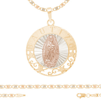 Baptism Jewelry Set - Chain, Pendant & Bracelet - 14K - BPS103B