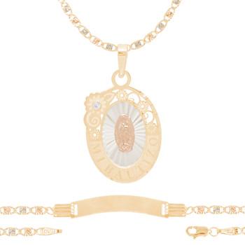 Baptism Jewelry Set - Chain, Pendant & ID Bracelet - 14K - BPS105