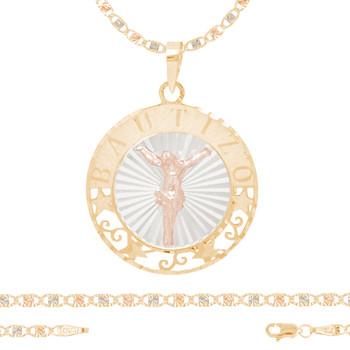 Baptism Jewelry Set - Chain, Pendant & Bracelet - 14K - BPS106B