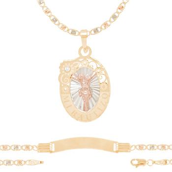 Baptism Jewelry Set - Chain, Pendant & ID Bracelet - 14K - BPS108