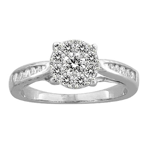 White Gold Engagement Ring with Diamonds - 59093