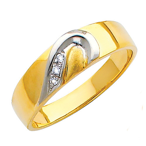 Yellow & white gold wedding band with CZ - 14K  3.6 gr. - RG151