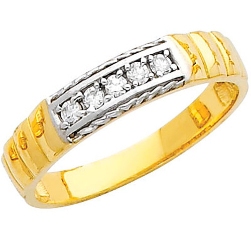 Yellow gold wedding band with CZ - 14K  3.2 gr. - RG225