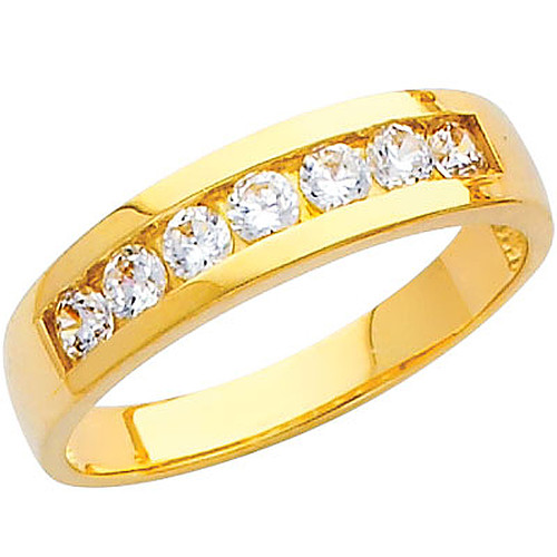 Yellow gold wedding band with CZ - 14K  3.4 gr. - RG217