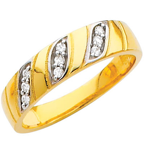 Yellow gold wedding band with CZ - 14K  3.7 gr. - RG207