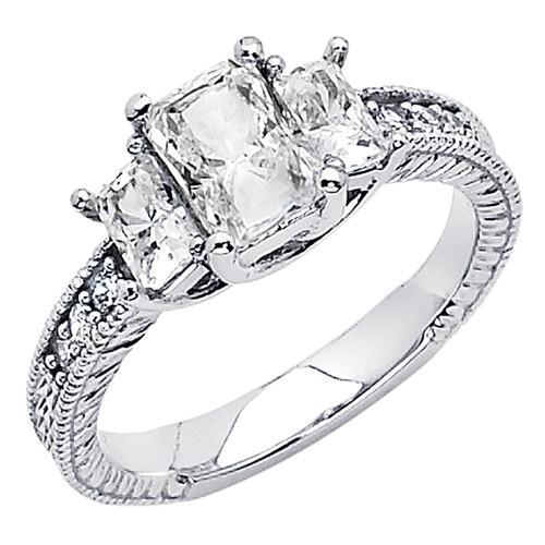 White Gold Engagement Ring - 14K  3.9 gr. - RG62