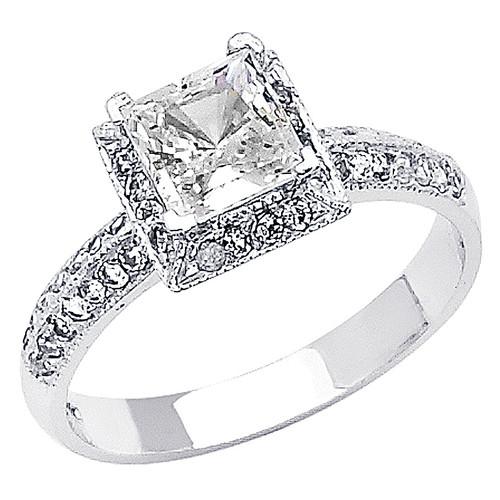 White Gold Engagement Ring - 14K  3.9 gr. - RG59