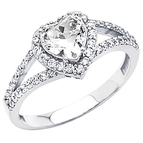 White Gold Engagement Ring 14K  3.0 gr. - RG56