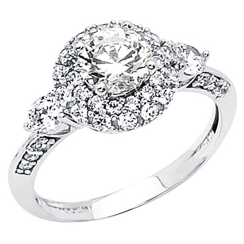 White Gold Engagement Ring - 14K  3.6 gr. - RG55