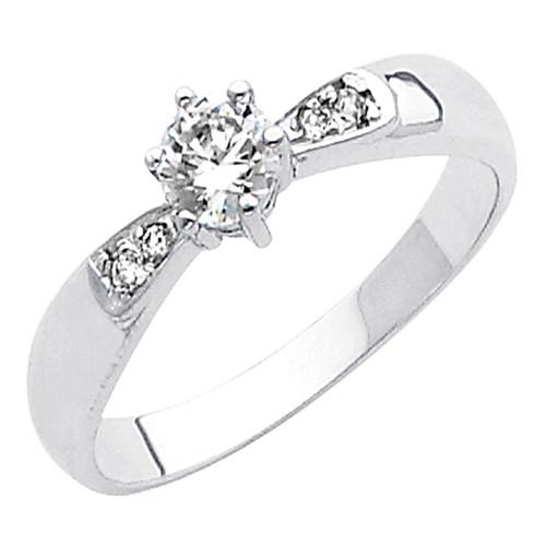 White Gold Engagement Ring - 14K  4.2 gr. - RG42