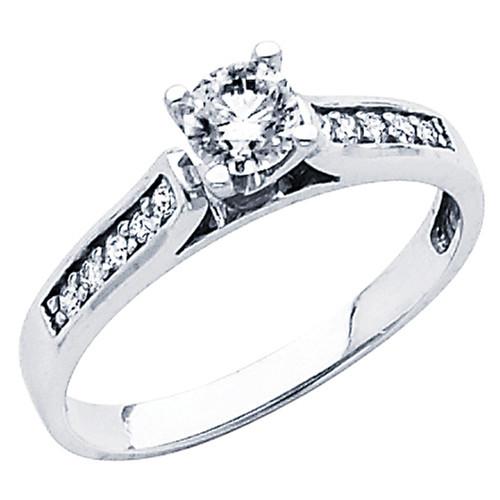 White Gold Engagement Ring - 14K - 0.49 Ct - DRG55
