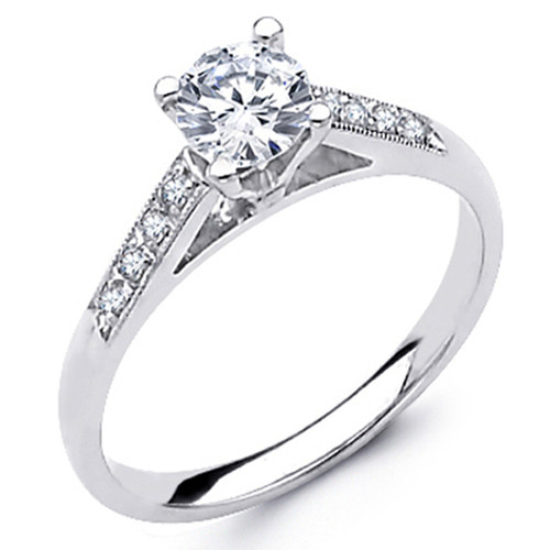 White Gold Engagement Ring - 14K - 0.62 Ct - DRG53