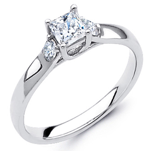White Gold Engagement Ring - 14K - 0.57 Ct - DRG43