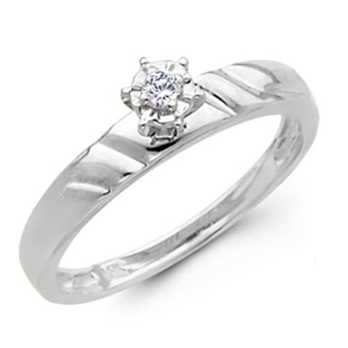 White Gold Engagement Ring 14K  0.05 Ct - DRG9E