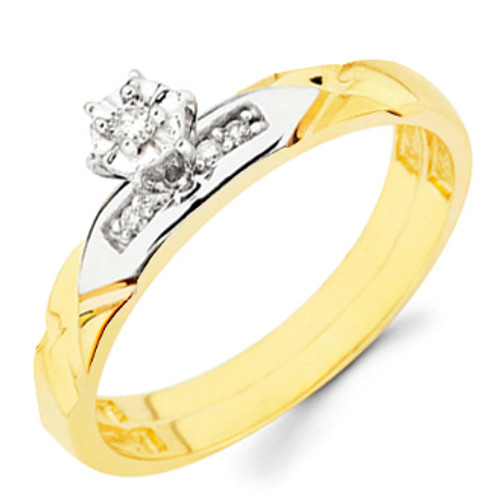 Yellow Gold Engagement Ring - 14K  0.09 Ct - DRG14E